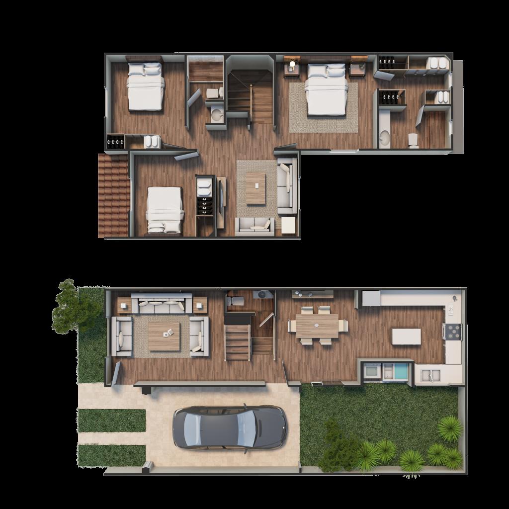 Casa Dalia plano amueblado