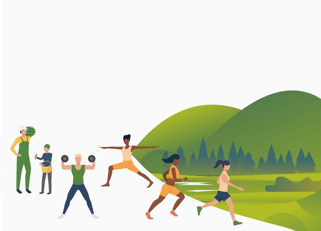 Gente activa entrenando al aire libre, haciendo ejercicio para mejorar su calidad de vida.